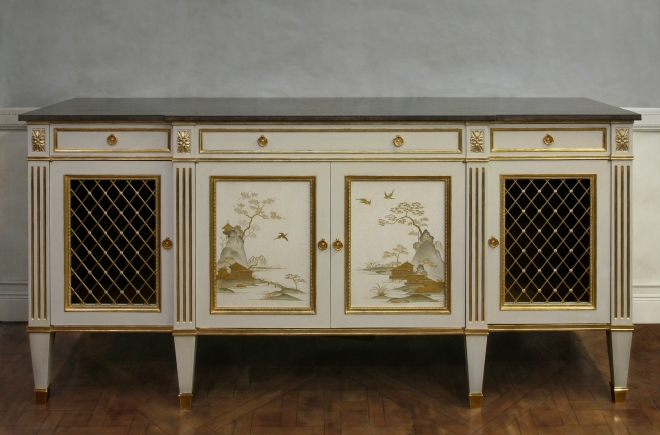 Neoclassical white lacquer cabinet 2848 2814 wpl