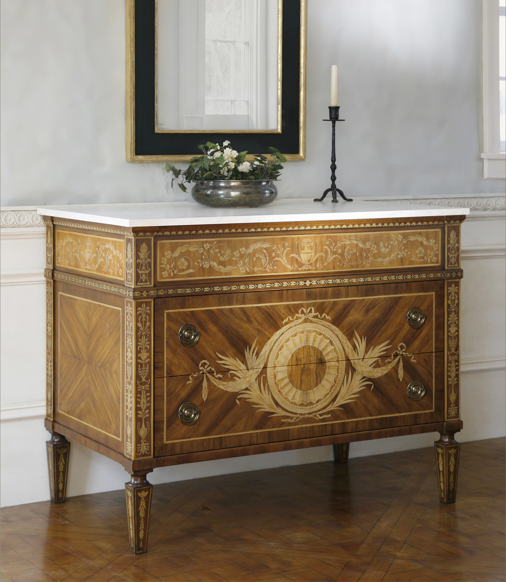 Italian Neoclassical Faux Marquetry Commode