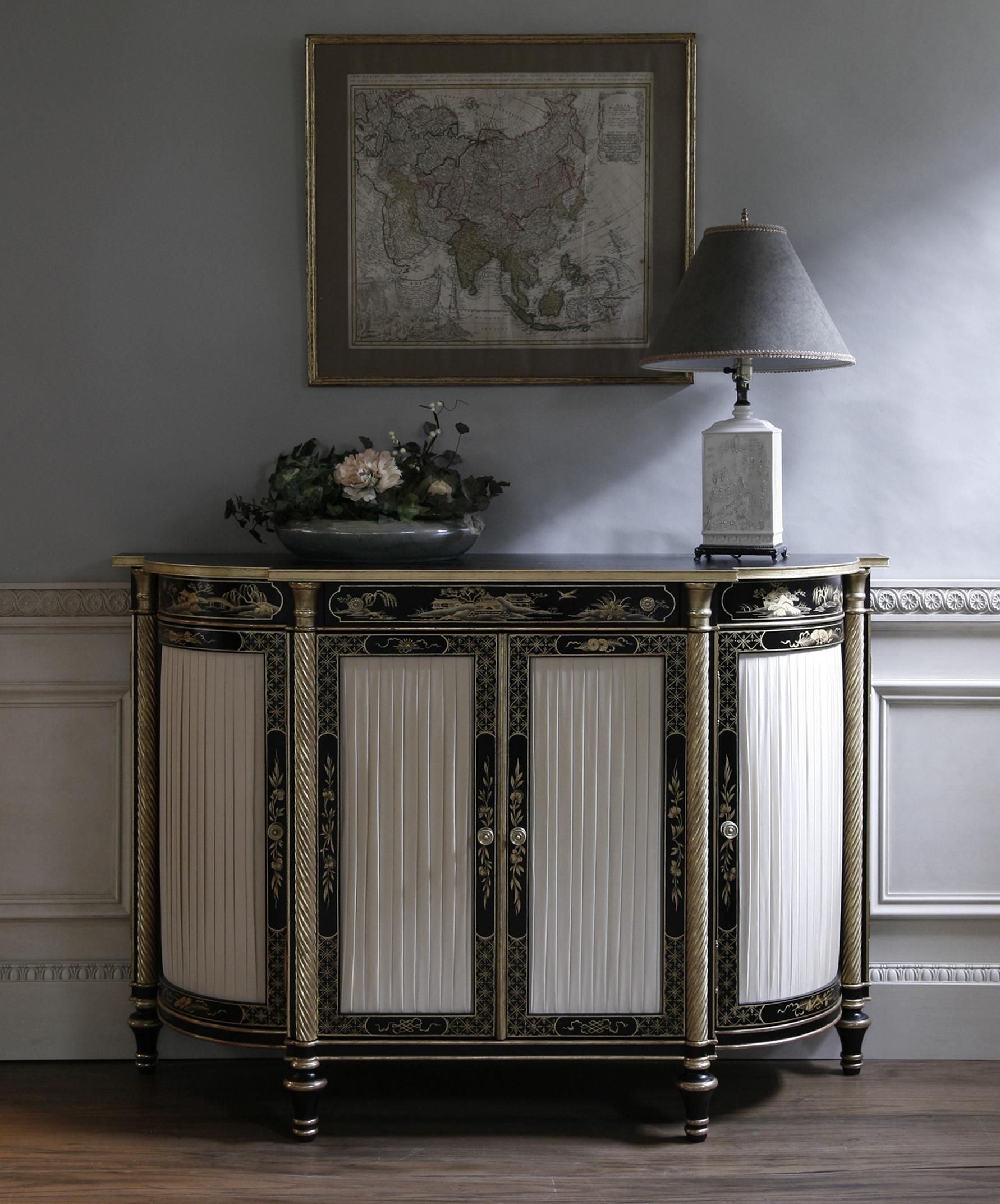 Regency Black Lacquer Cabinet