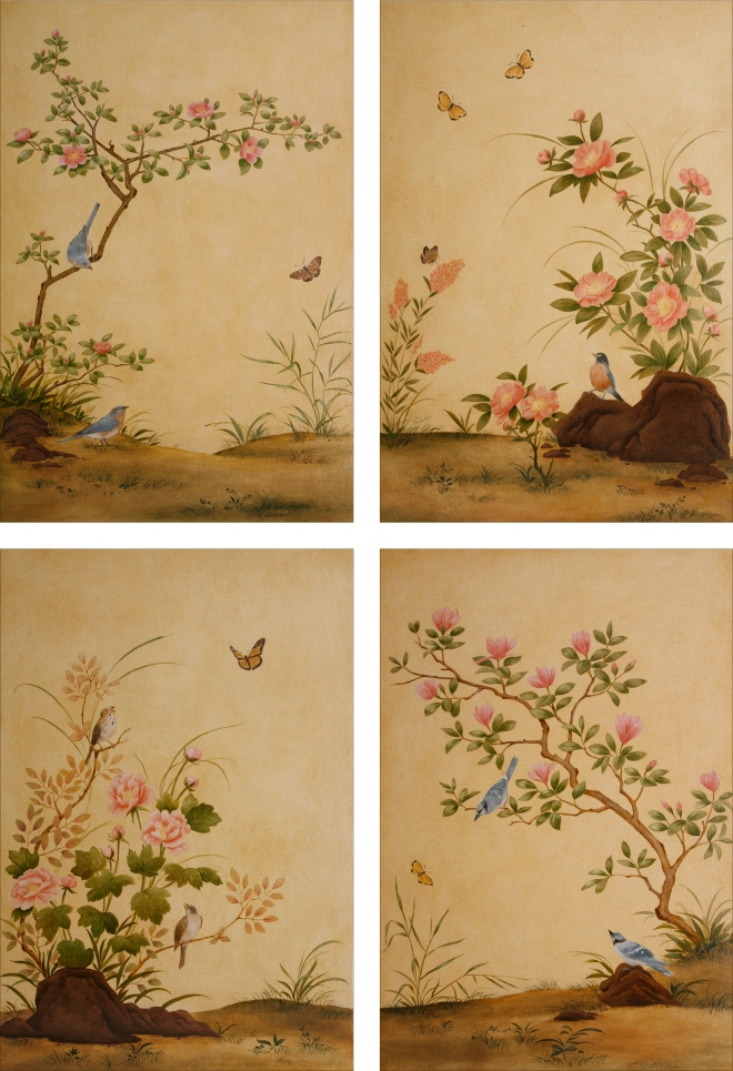 bird and flower 4 panels