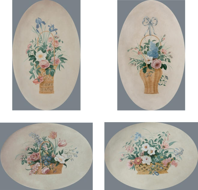 four bouquets in baskets wpl